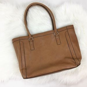 Merona Tan Faux Leather Medium Shoulder Bag Purse